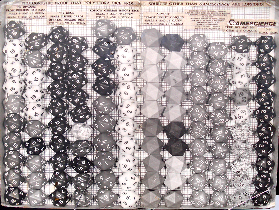 Old black and white photograph of stacks of dice from TSR, Koplow, Armory, 'oriental imports', and GameScience. There are two stacks for each company. Each pair of stacks is uneven, except for the pair of GameScience Stacks
